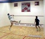 Stefan Edberg does an overhead tennis smash
