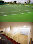 Tennis courts tend to have open environments, while Squash courts tend to be relatively closed environments.