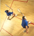 A squash game in progress